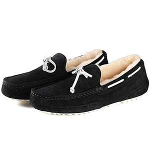 OZZEG Men's Classic Fashion Slip on Driving Casual Loafers Boat Shoes Sheepskin Wool Lining (10 US, Black)