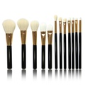 YOY Fashion Makeup Brush Set - Professional Kabuki Brushes Kit Foundation Blending Blush Contour Concealer Eyeliner Face Powder Cosmetics Beauty Tools,12 Pcs Black-gold