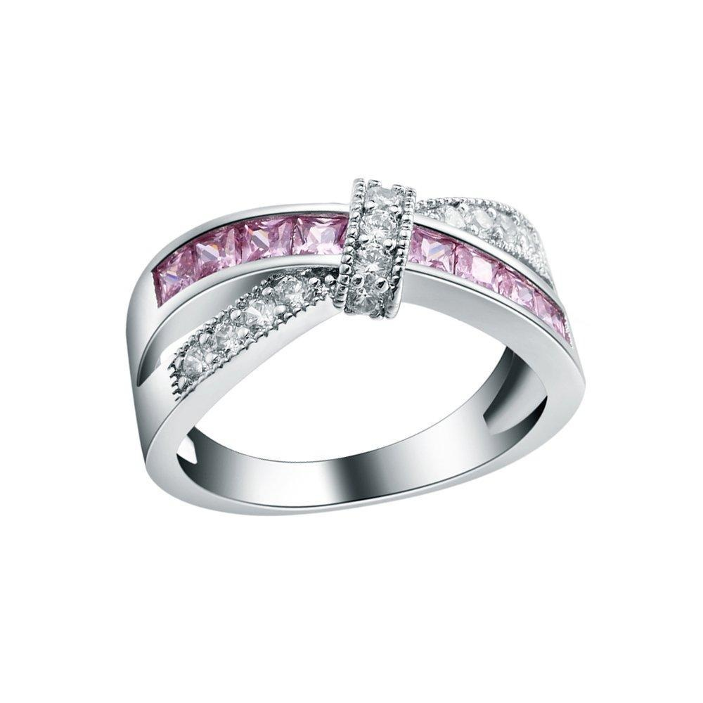 Pink Crystal Sterling Silver CZ Cublic Zircon Knot Wedding Bridal Engagement Ring US Size 6,7,8,9