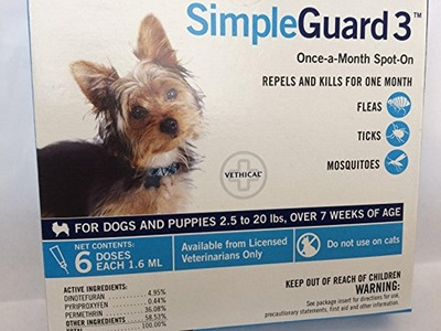 SimpleGuard 3 for Dogs 2.5-20lbs. 6 Doses.