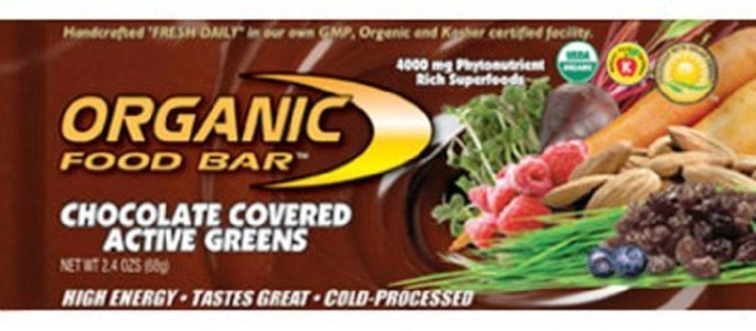 Organic Food Bar Active Greens, Chocolate, 2.4 Ounce (Pack of 12) by Organic Food Bar