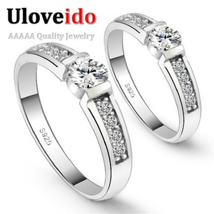 Slyq Jewelry Silver Plated Engagement Ring Wedding Ring Set Women Men Jewelry Cubic Zirconia aliancas de casamento J292