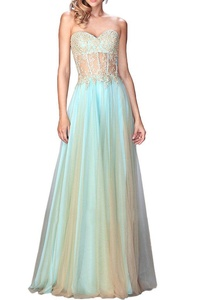 Vienna Bride Chiffon Lace Applique Sweetheart Strapless Bridesmaid Dress 2016-12-Blue