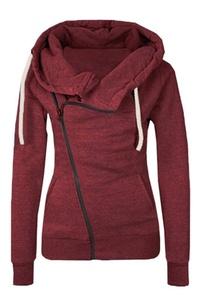 Doreen Womens Long Sleeve Oblique Zipper Slim Fit Hoodie Warm Jacket Sweatshirt Size S Red