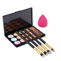 CINEEN 15 Colors Contour Concealer Palette 4pcs Powder Brushes Sponge Blender Foundation Brushes Beauty Tools