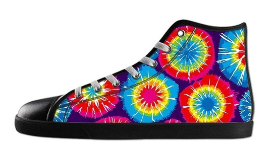 Custom Men's Tie Dye Canvas Shoes High-Top Black Rubber Casual Lace-up Soft Inner Sneaker-8M(US)
