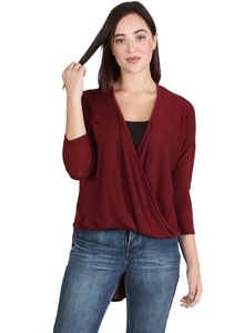 Quarter Sleeve Surplice Top with Bubble Front Hem and Long Tail