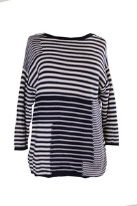 American Living Womens Boatneck Striped Pullover Sweater Navy L