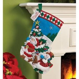 Bucilla Felt Applique Stocking Kit by Plaid, Pick A Tree, 16