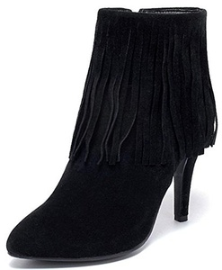 Summerwhisper Women's Sexy Fringe Pointed Toe Booties Side Zipper Stiletto High Heel Ankle Boots Black 4 B(M) US