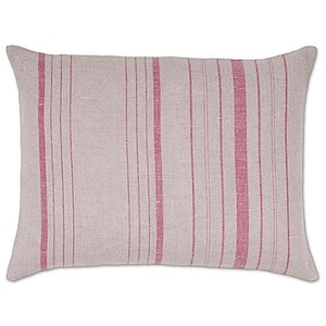 Aura Vertical Stripes Linen Oblong Linen Throw Pillow in Natural/Red