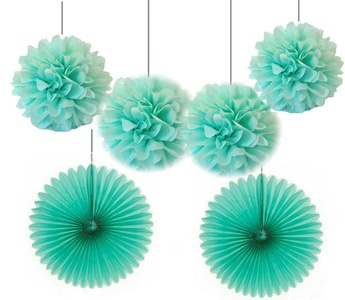 Joinwin 4pcs 10 inch Mint Tissue Paper Pom Poms Mixed 2Pcs 16inch Mint Tissue Paper Fans Hanging Decoration Party Baby Shower Decor (Mint)