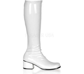 Womens 2 Inch Block Heel Steel Toe Boot (White;9)