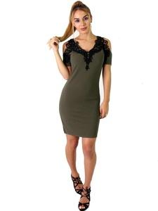 Ladies Cold Shoulder Applique Trim Bodycon Dress US Size 6-12 (US 12 (UK 14), Khaki)