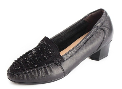 CHFSO Women's Fashion Rhinestone Leather Work Round Toe Slip On Low Top Mid Chunky Heel Pumps Black 8 B(M) US