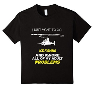 Kids I Just Want To Go ICE FISHING And Ignore All T-Shirt 4 Black