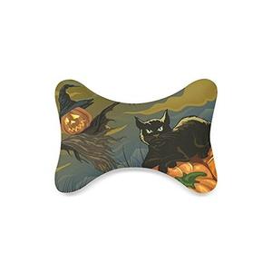 Halloween Black Cat Custom Travel Pillow Bone Shape Car Neck Pillow Car Seat Neck Rest Cushion Sofe And Healthy