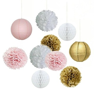 Set of 10pcs White Pink Gold Party Decoration Kit Tissue Paper Pom Pom Honeycomb Ball and Paper Lantern for Girls' Birthday Wedding Decoration Pink Baby Shower Room Decoration Party Favors