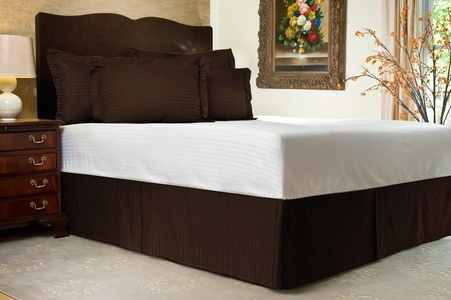 Brand New 3 Pc Bedskirt 700 TC Brown Striped King Size With 9
