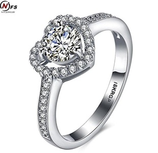 Dudee Jewelry White Plated Ring 2.5ct CZ Engagement Wedding Ring Heart Shape Vintage Jewelry