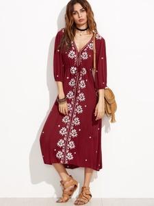Burgundy A Line Maxi Dress