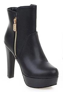 CHFSO Women's Classic Solid Round Toe Zipper High Chunky Heel Platform Martin Ankle Boots Black 9.5 B(M) US