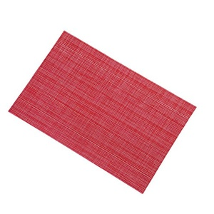 Lerela Set Of 4 Red PVC Woven Vinyl Solid Placemat Washable Stain-Resistant Dining Table Mat