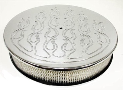 Chevy/Ford/Mopar 14 Round Chrome Aluminum Air Cleaner - Flamed by CFR Performance - Air Cleaner Sets