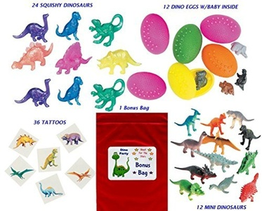 84 pc Dinosaur Kid's Birthday Party Favor Bundle Pack (12 Dinosaur eggs, 24 Squishy Dino's, 36 Tattoos, 12 mini dinosaurs, Bonus Bag) by Multiple