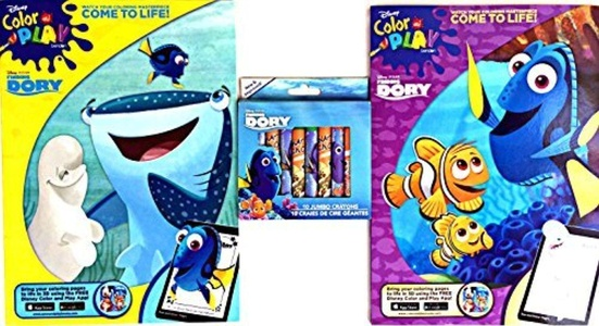 Disney Pixar Finding Dory Coloring Book Come to Life Activity Set with finding Dory Jumbo Crayons by Color and Play