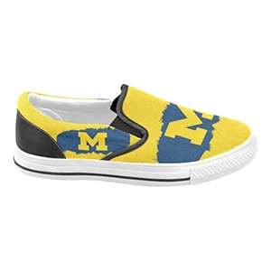 Thelma NCAA Michigan Wolverines Women's Slip-on Casual Loafers Canvas Shoes,White