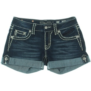 Miss Me Womens Rhinestone Dark Wash Denim Shorts Blue 27