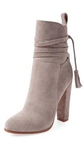 FSJ Comfortable Chunky Heel Boots Almond Toe with Zipper Suede Booties for Women Size 6 US