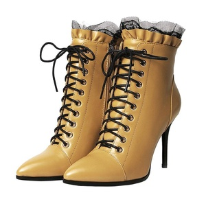 MERUMOTE Women's Stiletto Genuine Leather Pointed Toe Cute Sexy Front Lace Up Ankle Short Boots Yellow 10 US