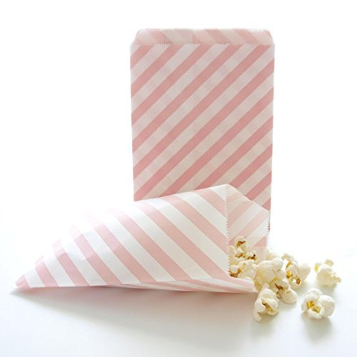 Online Store Pink Goodie Bags Bulk Gift Baby Girl Birthday Party Favors Striped Treat Bag 25 Pack By Food With Fashion