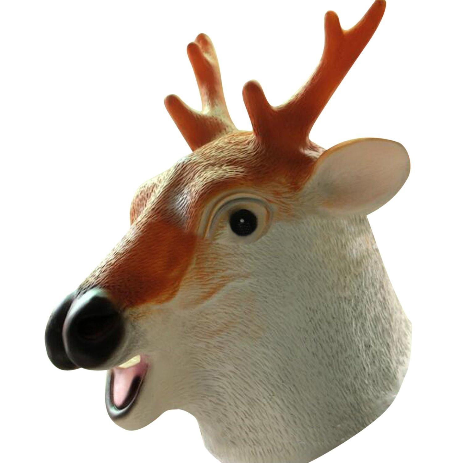 Online Store: Highfs Sika Deer Mask Deluxe Latex Animal Mask For ...