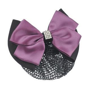 Ladies Bowtie Spring Clip Barrette Hair Clip Snood Net Hair Pin, Purple