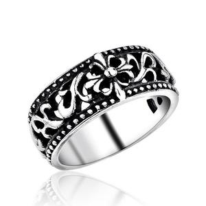 ARICO No Fade Men Fashion Stainless Steel Jewelry Retro Cool Fleur De Lis Cross Ring 9.0
