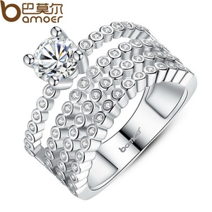 Slyq Jewelry Luxury Platinum Plated Zircon Bezel Setting 4 Rows Crystals CZ Finger Ring Wedding YIR066