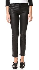 FRAME Women's Le High Straight Leather Pants, Noir, 24