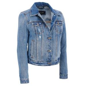 Black Rivet Womens Slightly Distressed Medium Wash Denim Jacket 2XL Denim Blue