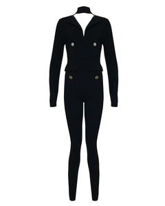 Whoinshop Women's V-neck Long Sleeve One Piece Halter Jumpsuit Romper Party Pants Black L