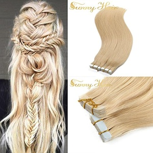 Sunny 14inch Tape in Remy Hair Extensions Human Hair #613 Bleach Blonde Hair Extensions Real Human Hair 20pcs 50Gram One Set