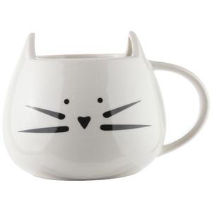 Home-X Ceramic Cat Coffee Mug. White