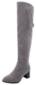 Summerwhisper Women's Trendy Faux Suede Almond Toe Block Medium Heel Back Zipper Over the Knee High Boots Gray 5 B(M) US