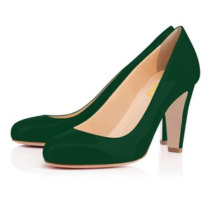 FSJ Fashion Round Toe Pumps Chunky Heels Party Shoes for Women Patent Leather Size 6 US Dark Green