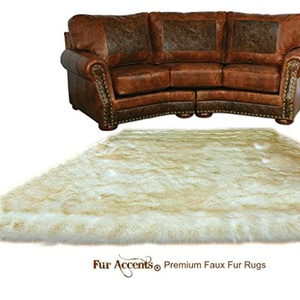 Thick Shaggy Hipster Style Area Rug - Golden Tip Polar Bear Faux Fur - Designer Art Carpets by Fur Accents USA (4'x5')