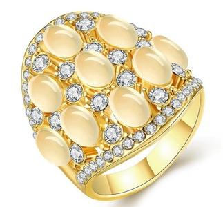 Cherryn Jewelry Luxury Large 9 Opals around Finger Ring Gold Plated Fashion Brand CZ Rhinestone Punk US size 7/8