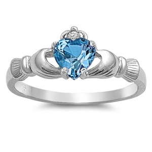 Irish Engagement Silver Claddagh Wedding Ring Simulated Blue Topaz Cubic Zirconia Size 4