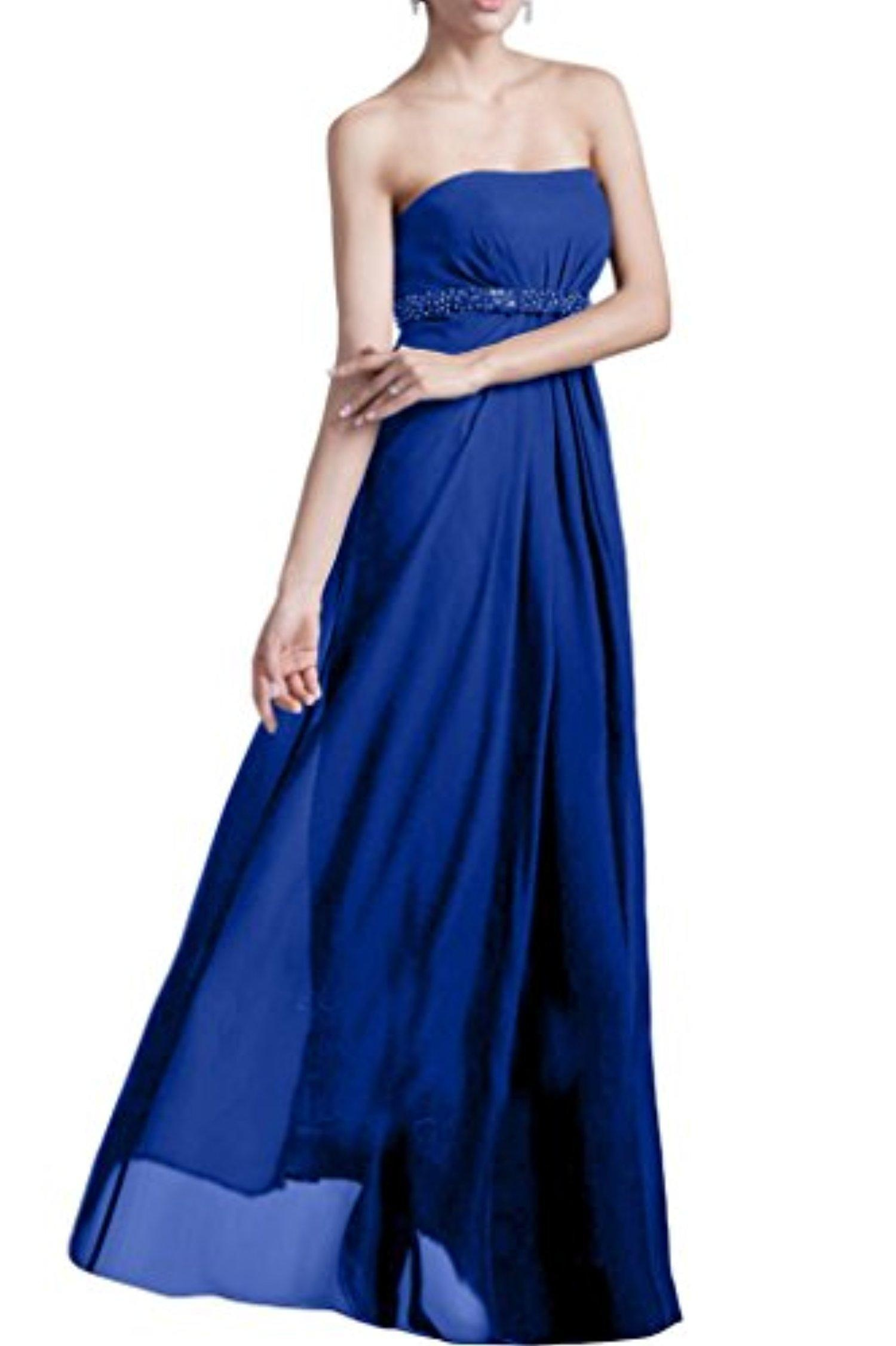 MILANO BRIDE Nifty Wedding Party Dress Prom Gown Strapless A-line Chiffon Beads-10-Royal Blue